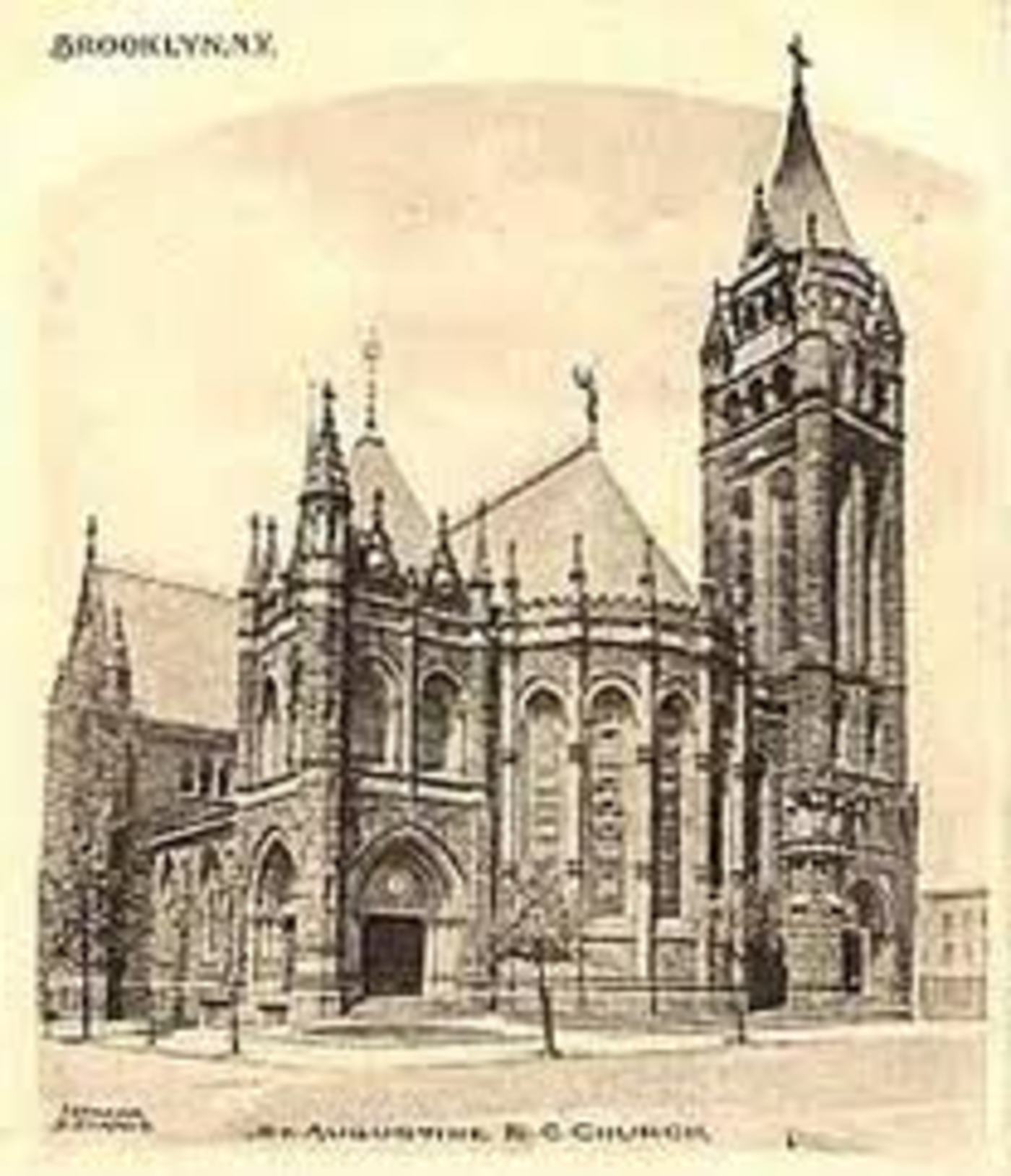 old illustration of St. Augustine church