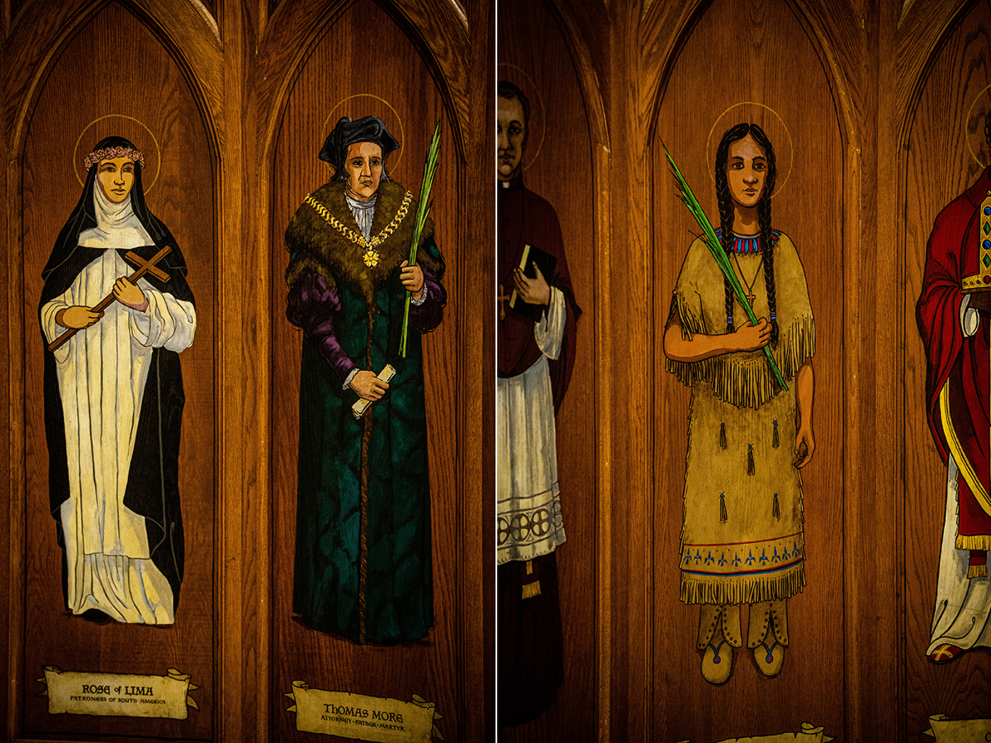 saints painted on the walls around baptismal font at St. Augustine church in Brooklyn, NY