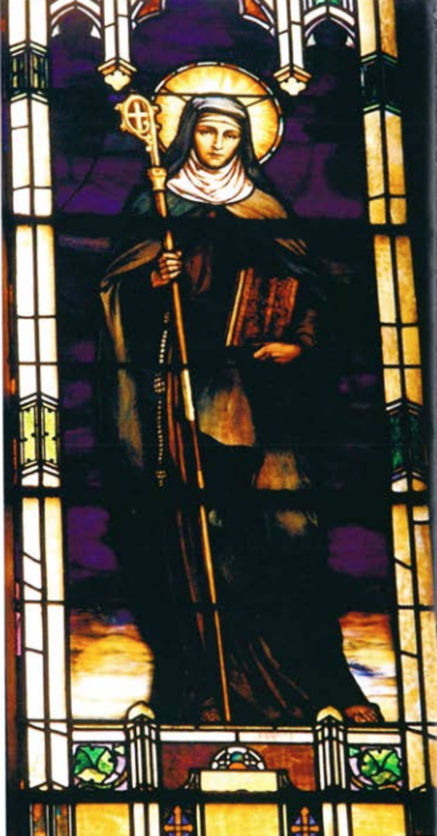 stained glass window of St. Catherine